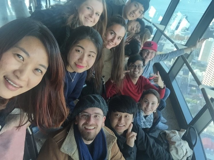 Visiting Auckland Sky Tower in New Zealand with friends from LI school