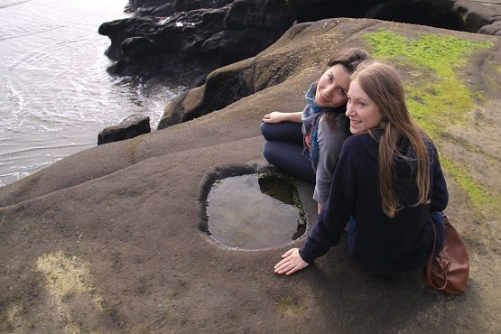 English language students at Muriwai beach