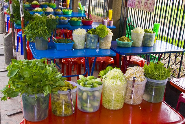 Fresh Thai Condiments at a Roadside Café in Bangkok