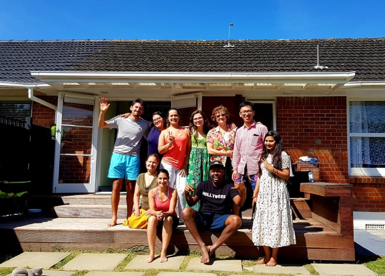 BBQ at student's home in Auckland, New Zealand