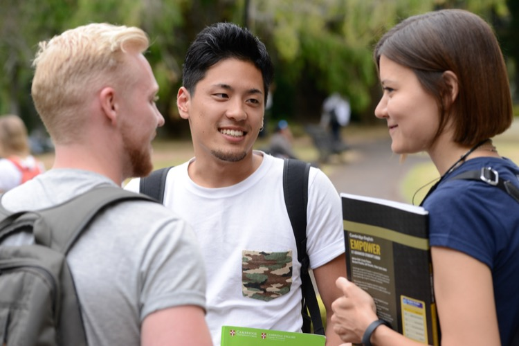 Students practising English outside an English school in Auckland New Zealand