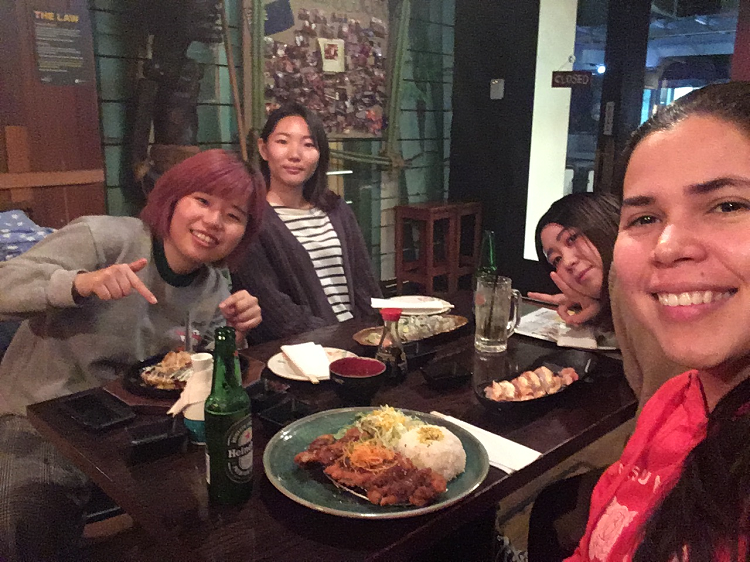 Yamile and friends at an Auckland restaurant