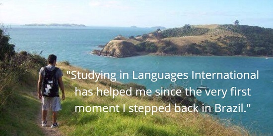 Fabiano studying English on New Zealand