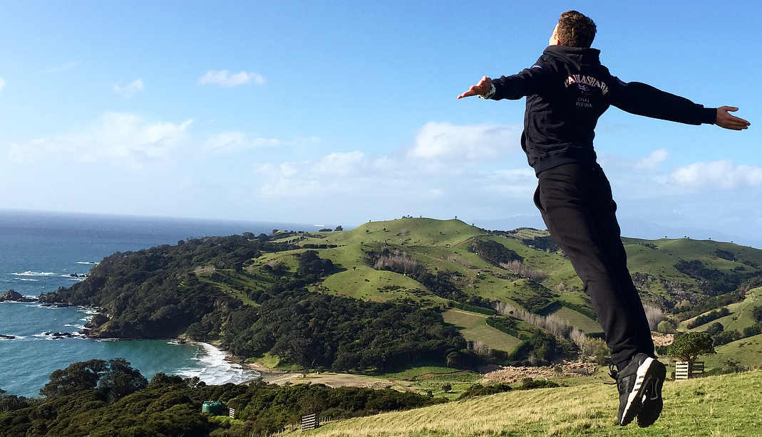 Ivan jumping for joy in New Zealand