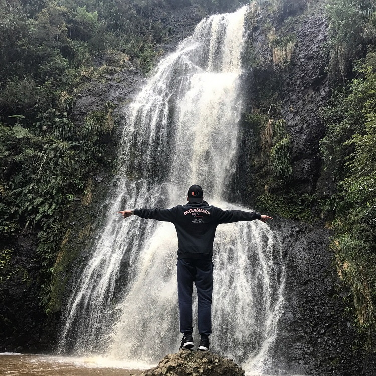 Ivan enjoying a New Zealand waterfall