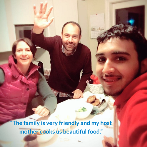 Majed with his homestay family