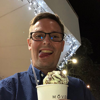 Yury with Movenpick ice cream in Auckland, New Zealand