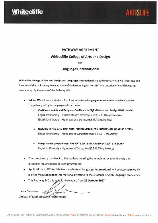 Whitecliffe College of Arts and Design Memorandum of Understanding