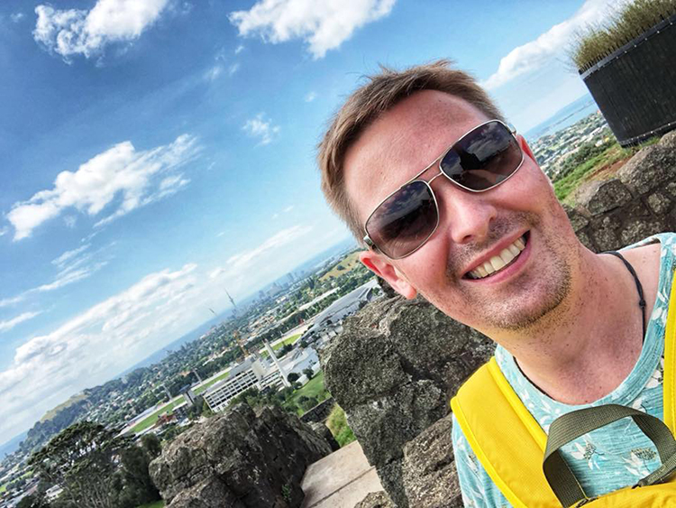 Yury's selfie from One Tree Hill in Auckland, New Zealand where he's doing an English course